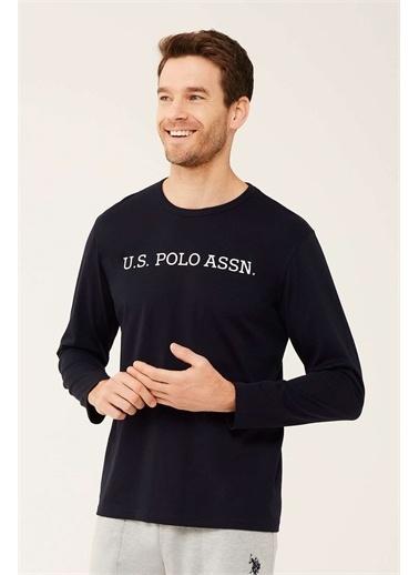 U.S. Polo Assn. U.S. Polo Assn. Erkek Beyaz Uzun Kollu T-shirt Lacivert